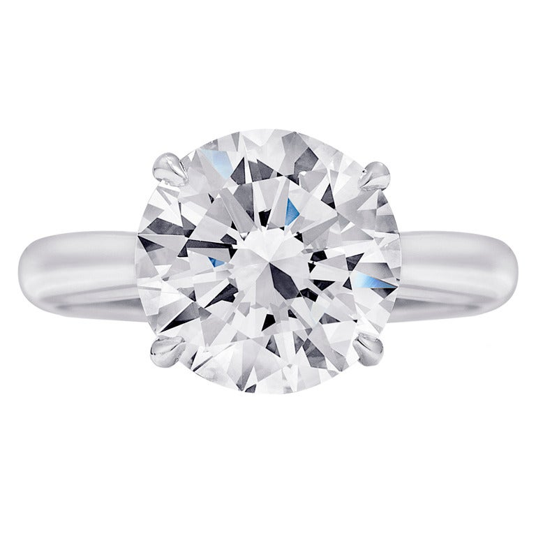 4 Carat Round Diamond Platinum Engagement Ring For Sale at 1stdibs