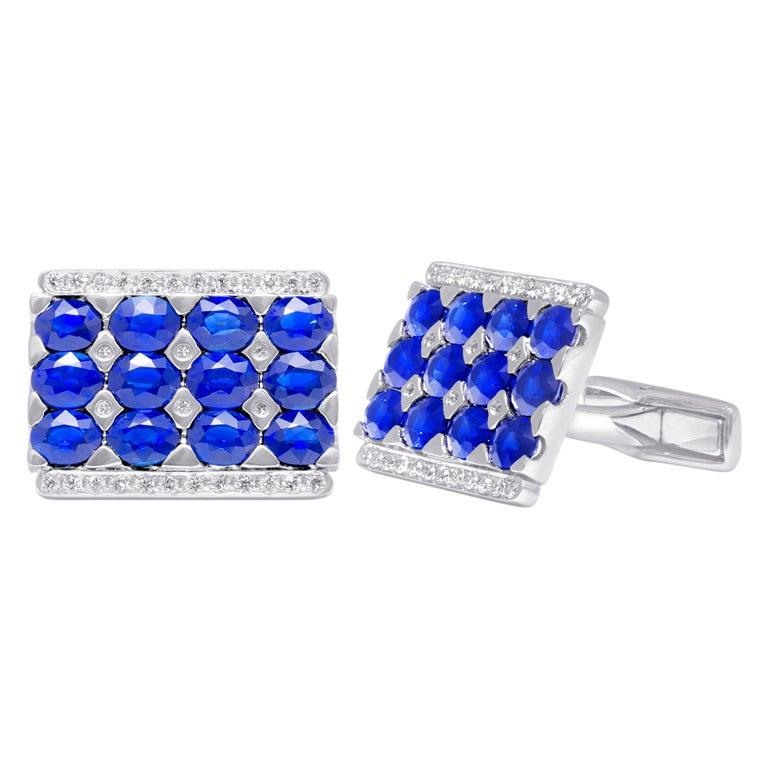 Sapphire and Diamond Cufflinks For Sale