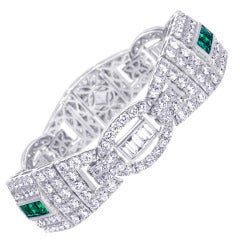 Diamond and Emerald Gold Bracelet
