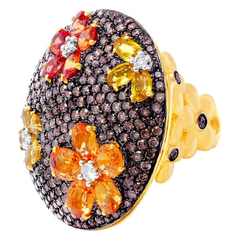 Yellow Gold Flower Bombe Ring