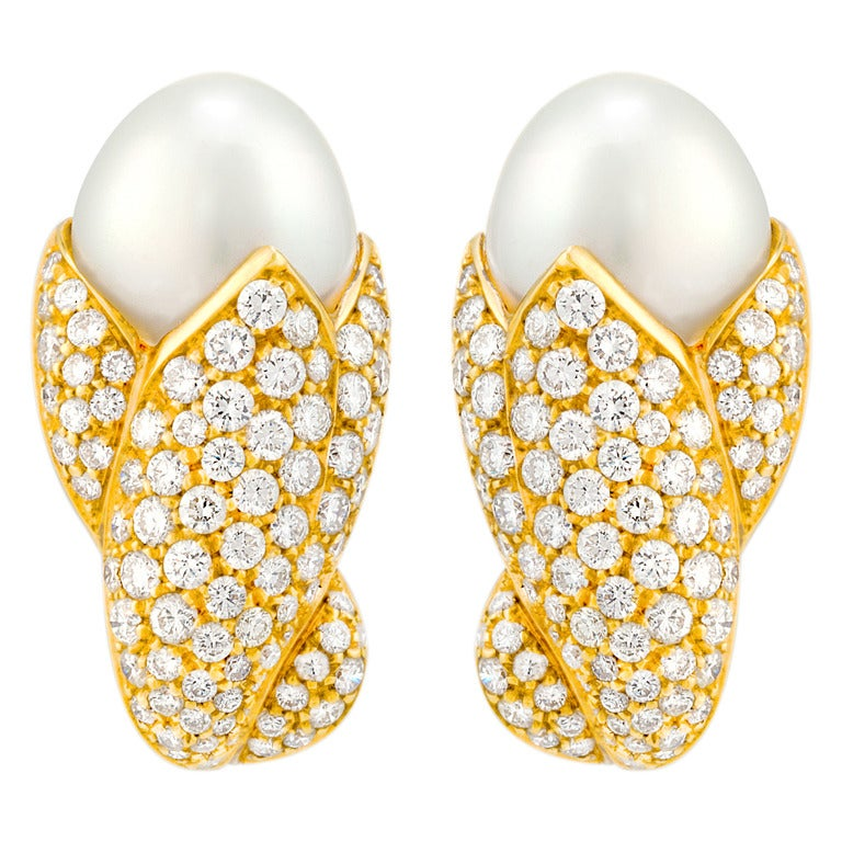 Stunning Diamond and Pearl Earrings For Sale