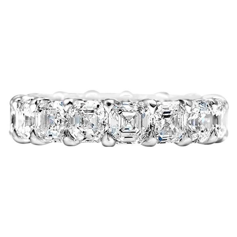 Large Asscher-Cut Diamond Wedding Band at 1stdibs