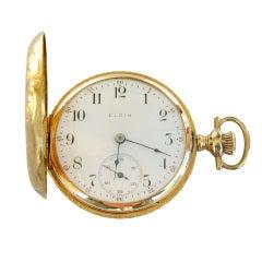 Elgin Yellow Gold Ornate Box-Hinge Hunter Case Pocket Watch