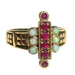 9CT English Gold Ruby & Opal Ring