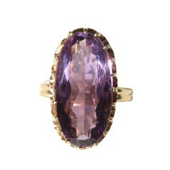 Antique 14kt Gold Oval 7.5 Carat Amethyst Basket Claw Set