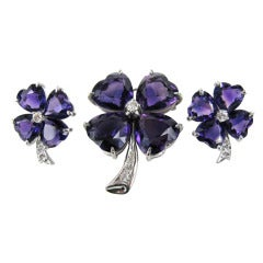 Stunning 1960s Amethyst Diamond Platinum Clover Parure Brooch & Earrings