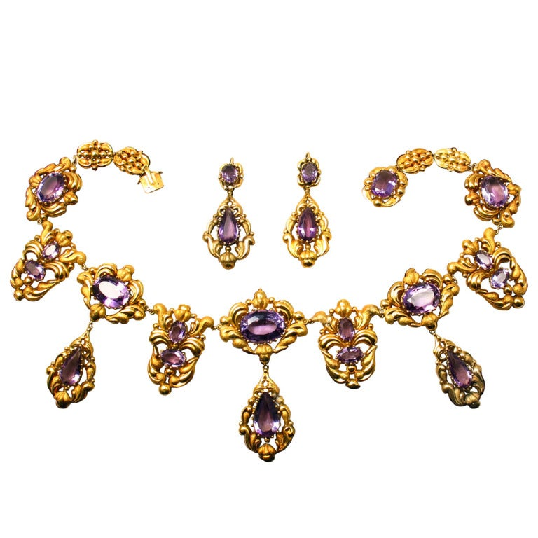 Georgian Amethyst Gold Necklace and Drop Earrings Set