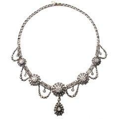 Victorian Diamond Silver Gold Festoon Necklace