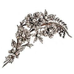 Victorian Diamond Flower Spray Brooch