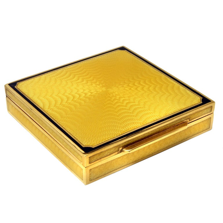 Enamel Guilloche Gold Plated Silver Box At 1stdibs