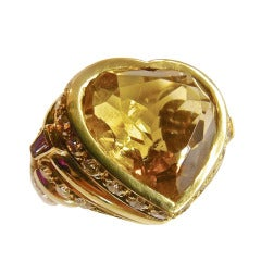 Citrine and diamonds yellow gold ring signed by Repossi.
