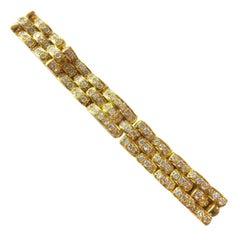 Yellow Gold Chaumet Bracelet Set with Diamonds
