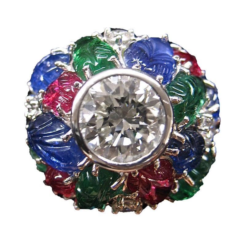 ruby sapphire emerald white gold ring at 1stdibs
