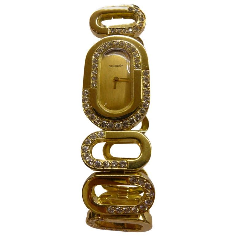 Boucheron Lady's Yellow Gold and Diamond Bracelet Watch circa 1970s