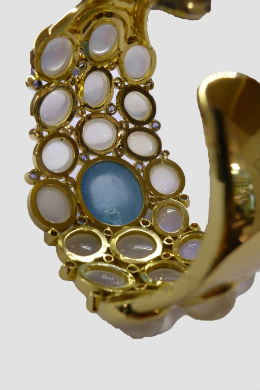 Temple St. Clair Aquamarine Sapphire Diamond Gold Bracelet 4