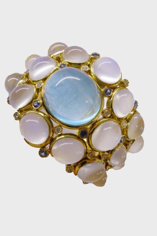 Temple St. Clair Aquamarine Sapphire Diamond Gold Bracelet 6