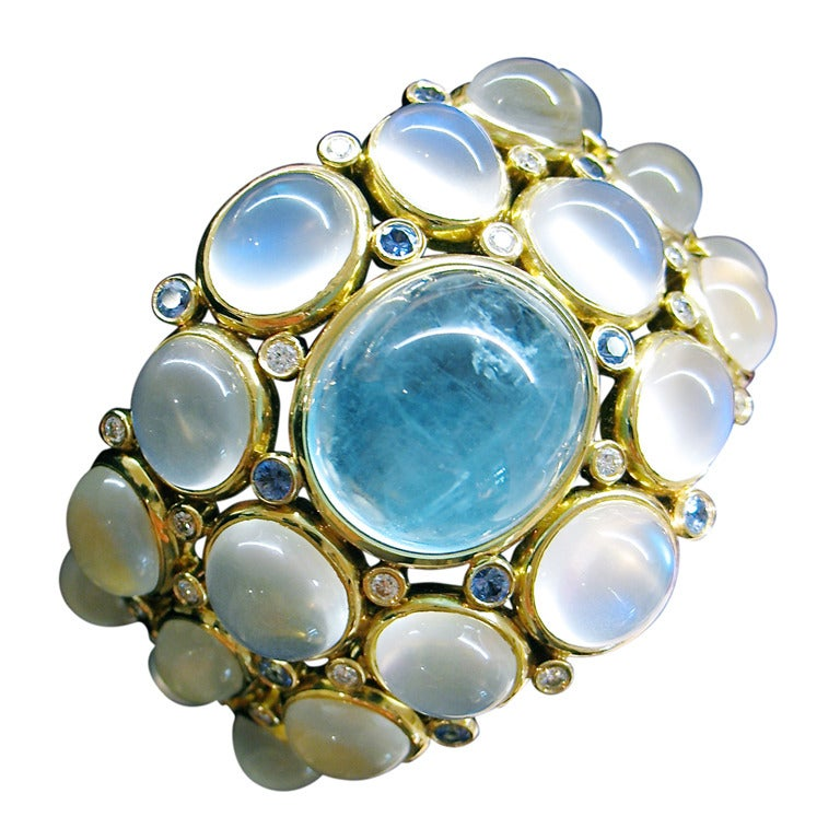 Temple St. Clair Aquamarine Sapphire Diamond Gold Bracelet 1
