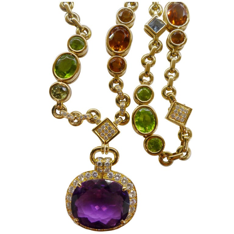 Cartier Multi Colored Stone And Diamonds Necklace At 1stdibs