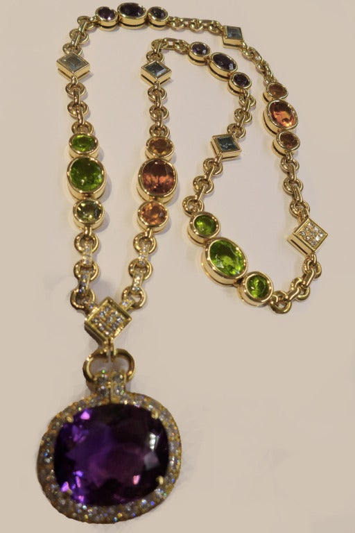 Cartier Multi colored stone and diamonds necklace. at 1stdibs