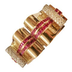 Retro Ruby Diamond Gold Platinum Clips on Convertible Bangle Bracelet
