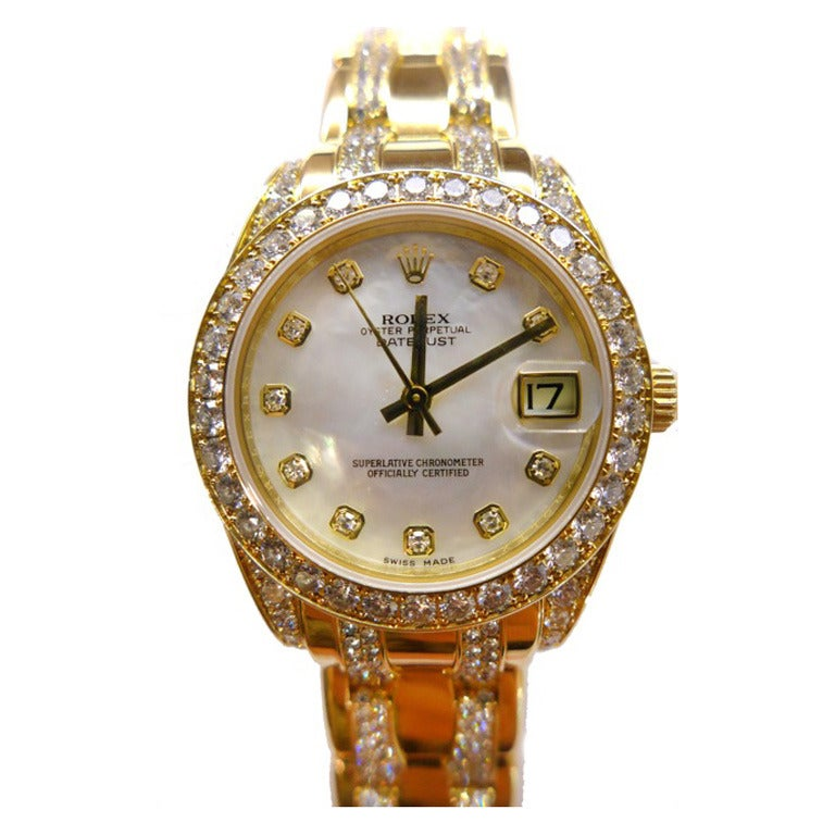 Rolex Lady's Yellow Gold and Diamond Pearlmaster Wristwatch 1