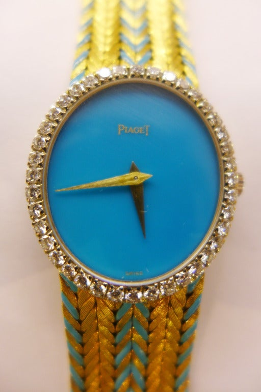 Piaget Lady S Yellow Gold And Diamond Bracelet Watch With