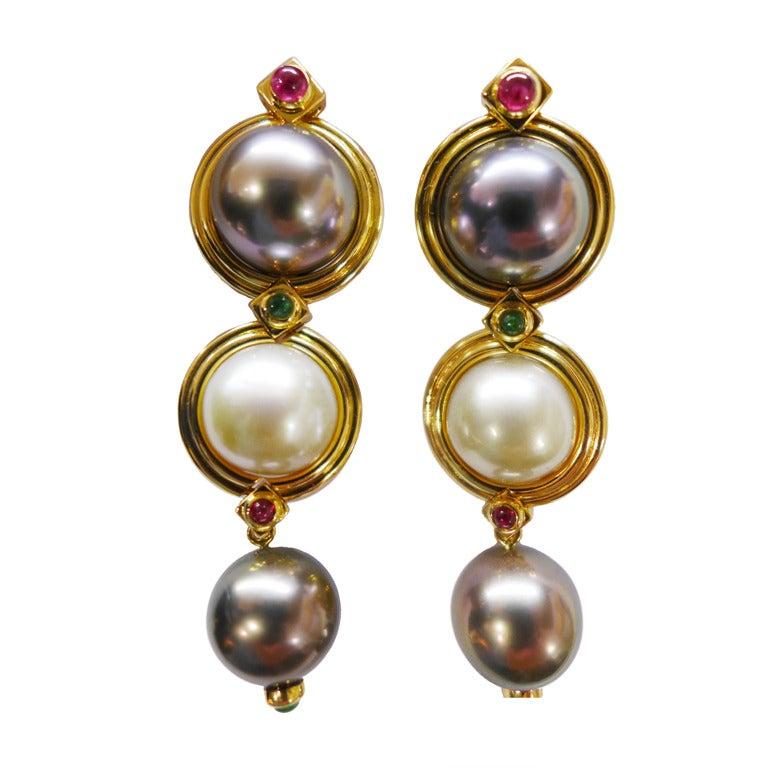Pearl Ruby Emerald Yellow Gold Repossi Earrings  1