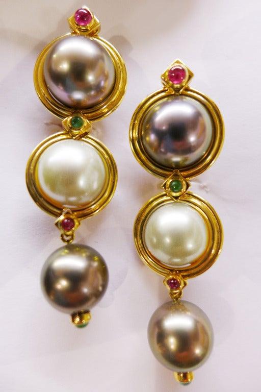 Pearl Ruby Emerald Yellow Gold Repossi Earrings  2