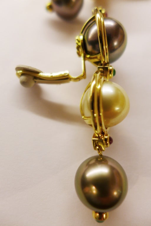 Pearl Ruby Emerald Yellow Gold Repossi Earrings  3