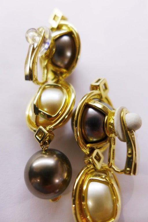 Pearl Ruby Emerald Yellow Gold Repossi Earrings  4
