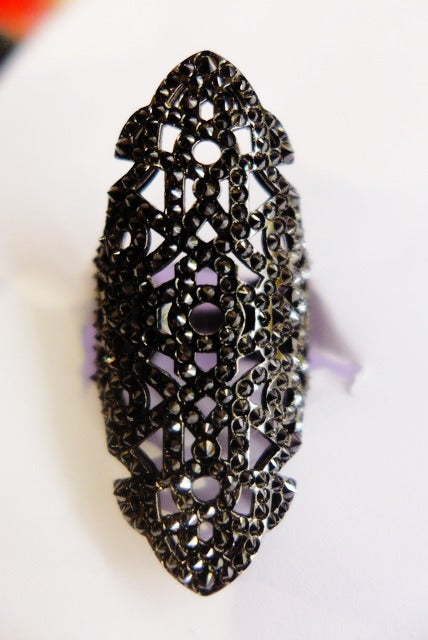 """Blackened white gold Repossi ring, """"Nérée"""" collection, set with black diamonds.  Finger size: 6,5.  Retail price: $19,300"""