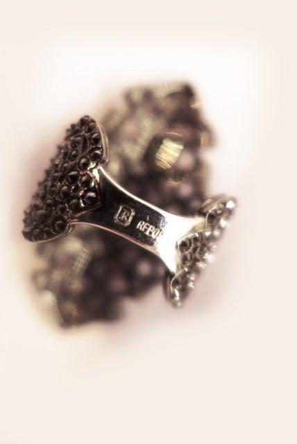 Women's Blackened White Gold Repossi Ring For Sale