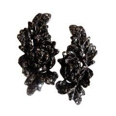 Repossi White Gold Blackened Earrings Set with Black Diamonds