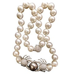 Tiffany Pearl Necklace with a Brilliant Pave Set Center