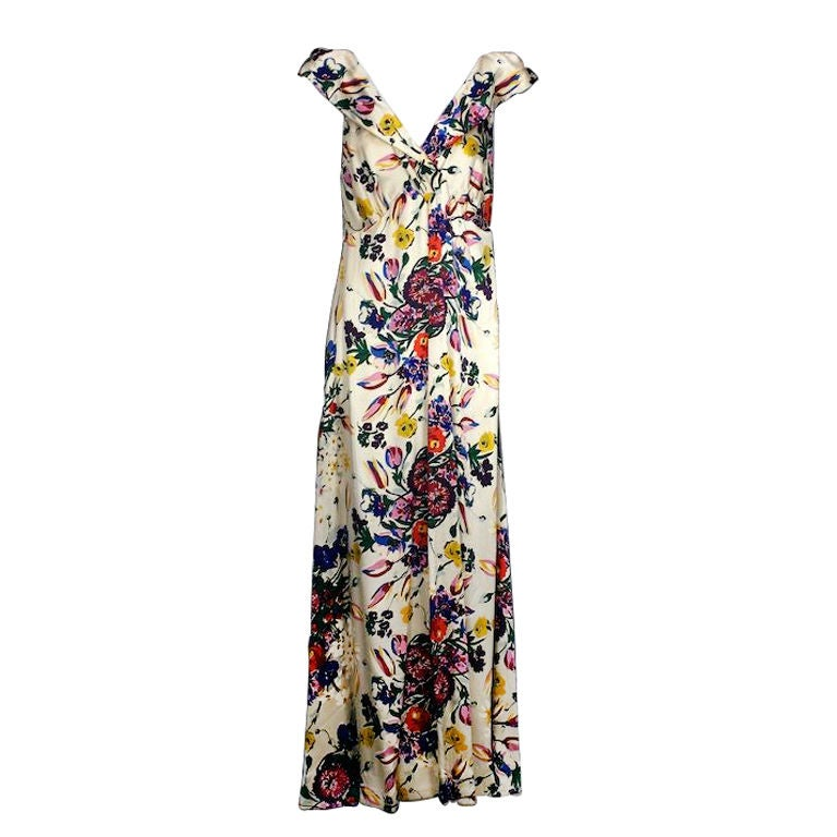 Silk Satin Floral 1930s Gown 1
