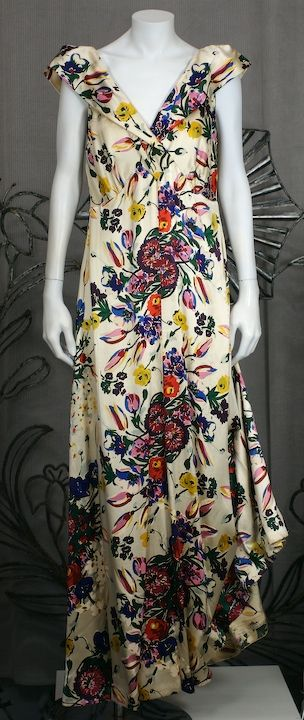 Silk Satin Floral 1930s Gown 2