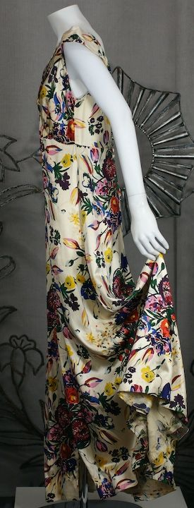 Silk Satin Floral 1930s Gown 4