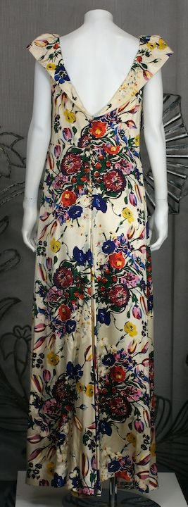Silk Satin Floral 1930s Gown 5