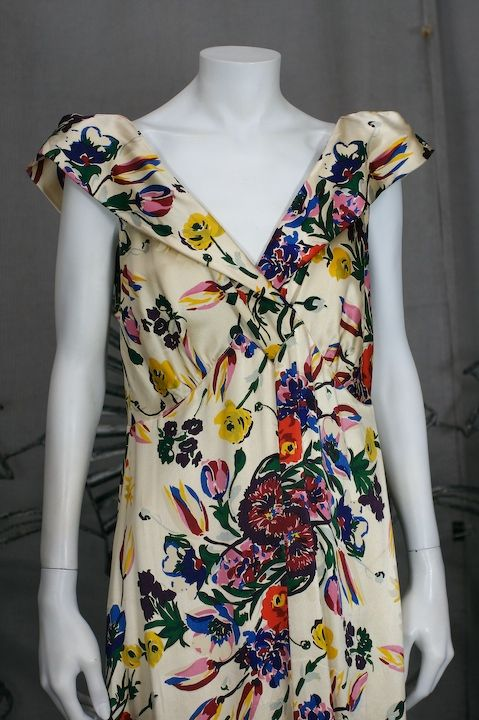 Silk Satin Floral 1930s Gown 6