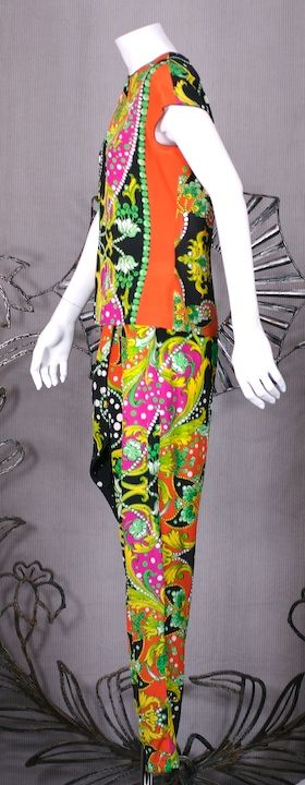 Versace Graphic Draped Sarong Pant Ensemble In Excellent Condition For Sale In Riverdale, NY