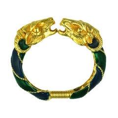 Donald Stannard Enameled Ram Head Bracelet