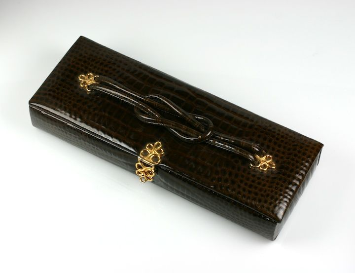 Black Koret Faux Alligator Glove Box Clutch For Sale