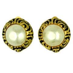 Chanel Pearl Logo Earrings