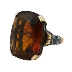 Retro Madiera Citrine and Black Diamond Cocktail Ring