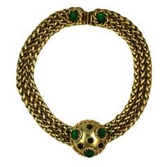 Chanel Gilt Fox Chain Poured Glass Collar