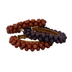 Miriam Haskell Chestnut and Sienna Bead  Bangle Bracelet  Collection