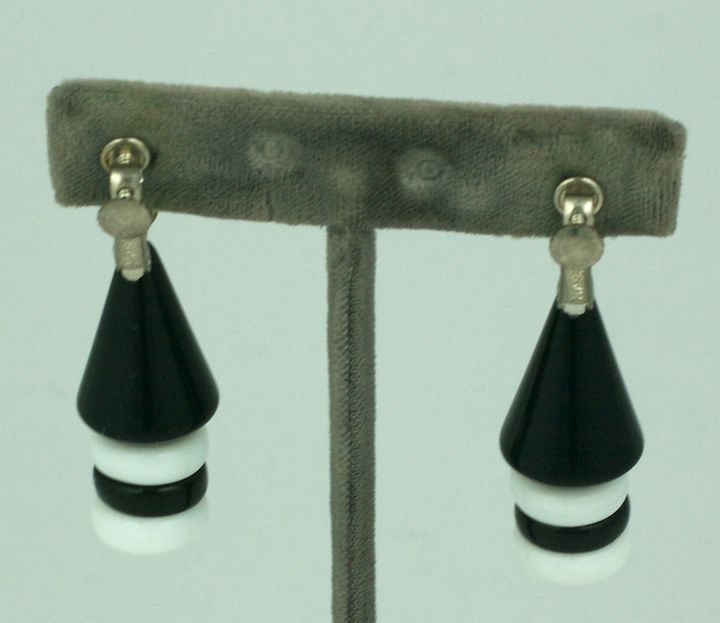 Women's Miriam Haskell Black and White Graphic Earrings For Sale