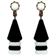Miriam Haskell Black and White Graphic Earrings