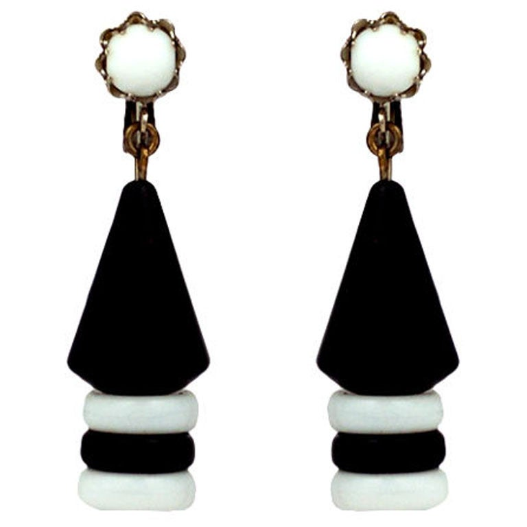Miriam Haskell Black and White Graphic Earrings For Sale