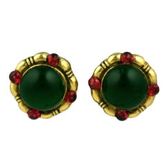 Chanel Poured Glass Emerald Earrings